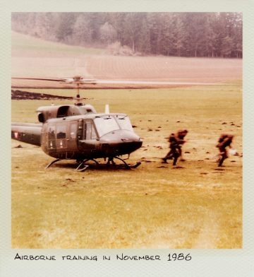 Airborne training in November 1986.