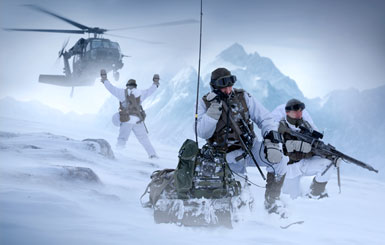 Special operations forces in winter warfare are picked up by a Black Hawk helicopter.