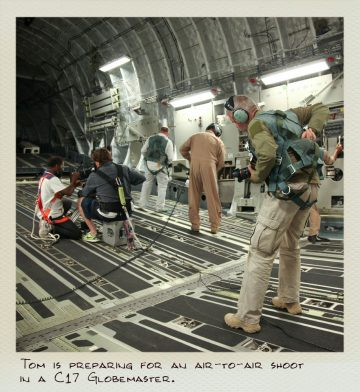 Tom (MILPICTURES) is preparing for an air-to-air shoot in a C-17 Globemaster.