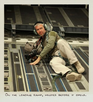 Tom (MILPICTURES) on the loading ramp of a C-17 Globemaster minutes before it opens.