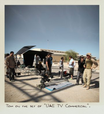 Tom on the set of the UAE TV commercial.