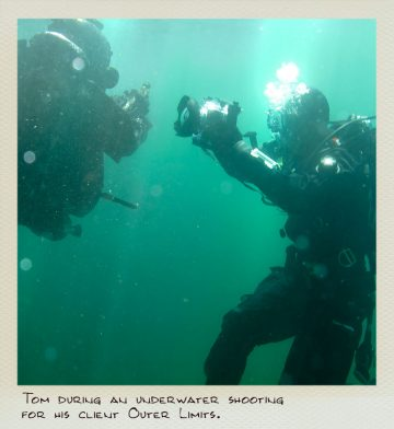 Tom (MILPICTURES) with a combat diver during an underwater video shoot.