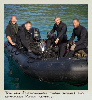 Tom (MILPICTURES) with Jagdkommando combat diver after finishing a video shoot.