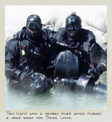 Tom (MILPICTURES) with a combat diver after finishing a video shoot.