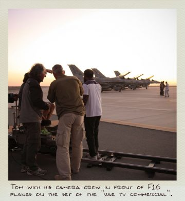 Tom (MILPICTURES) with his camera crew in front of F16 planes on the set of the