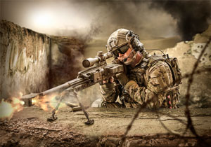 An international Special Operations Forces Scout Sniper fights the enemy with a heavy sniper rifle.