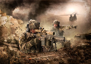 An international Special Operations Forces Scout Sniper Team fights the enemy with a G28 sniper rifle.