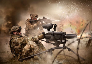 Special operations forces soldiers in a combat mission with an automatic grenade launcher.