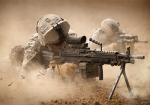 U.S. Army Rangers in a combat mission.