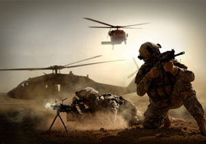 U.S. Army Ranger secure a hot landing zone.