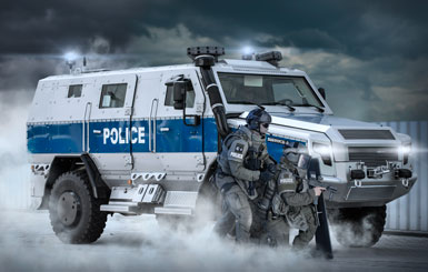 A police special unit with armored vehicle.